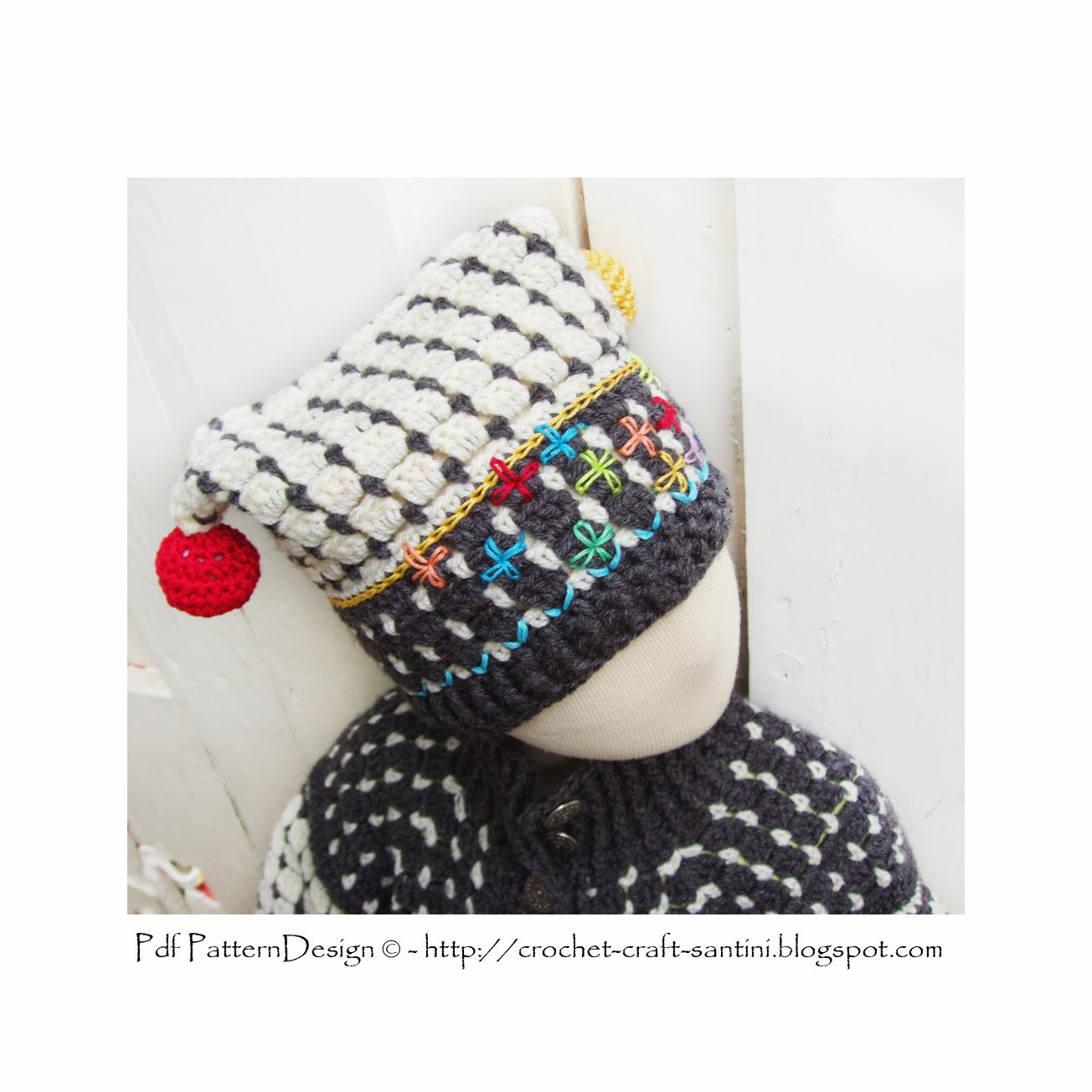 THE FAIR ISLE CROCHET HAT WITH BALLS, ALL SIZES FROM 2 YEARS - ADULT!