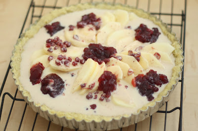 Lingonberry Custard Apple Tart Recipe with Pistachio Crust