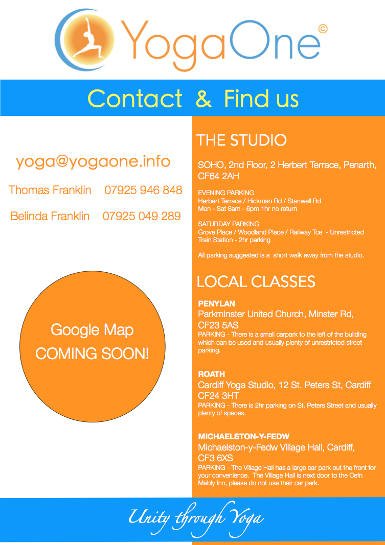 YogaOne Studio Penarth, 2nd Floor, 2 Herbert Terrace, Penarth, CF64 2AH.  YogaOne at the Cardiff Yoga Studio, 12 St. Peters St, Roath, CF24 3HT
