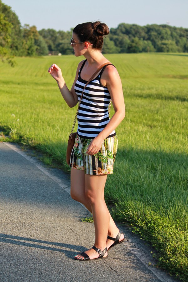 Tropical shorts, Target shorts, striped tank top, black sandals