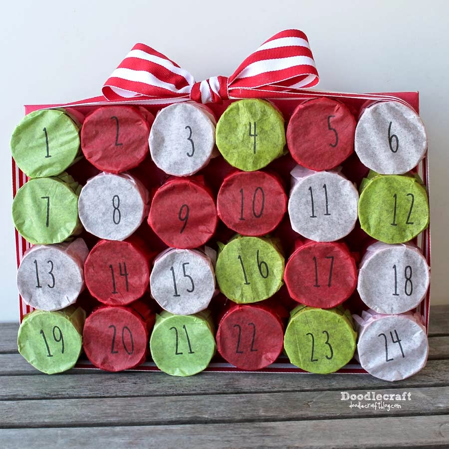 Doodlecraft tp roll christmas countdown advent calendar 12 toilet paper rollsor other cardboard tubes lightweight paper ribbon rubber stamps numbersink small hair elastics tissue paper jeuxipadfo Image collections