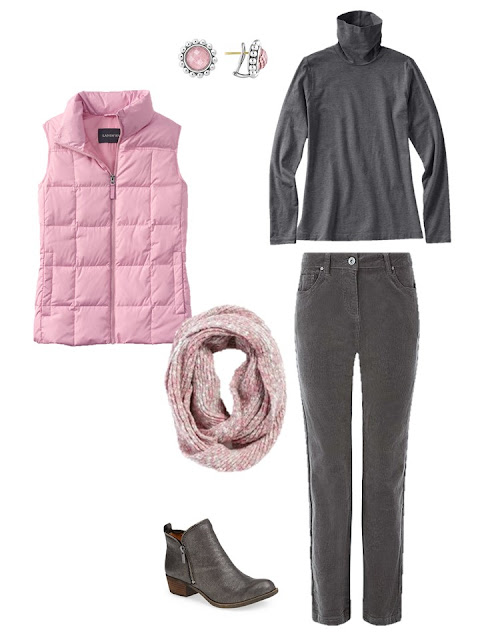 outfit with a pink down vest, grey turtleneck and grey corduroy pants