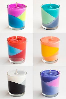 Crea tus propias velas con crayones con diseño color block