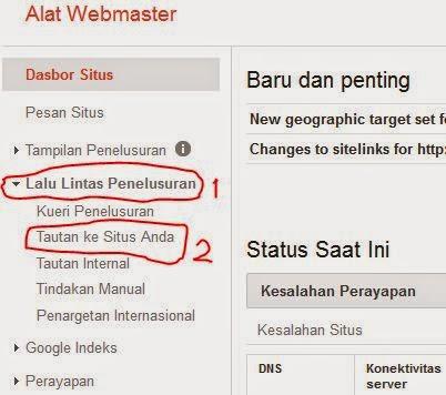 melihat jumlah link in di dari google webmaster tools