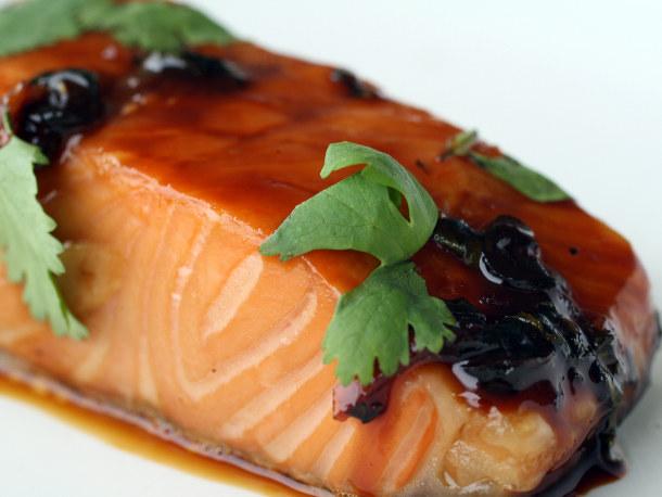 ... honey glazed salmon with spicy mango chutney and coconut creme rice