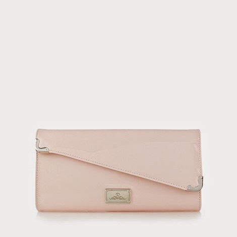 Red Herring Light Pink Patent Clutch Bag