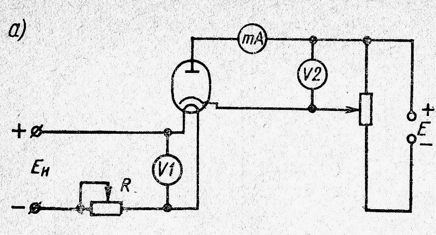 Двухэлектродная лампа: схема включения для снятия характеристик