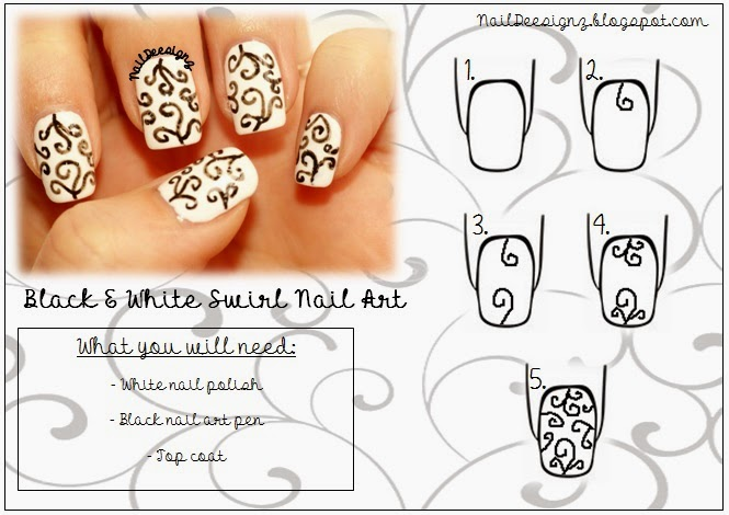 http://www.naildeesignz.blogspot.co.uk/2014/03/black-white-swirls-nail-art.html