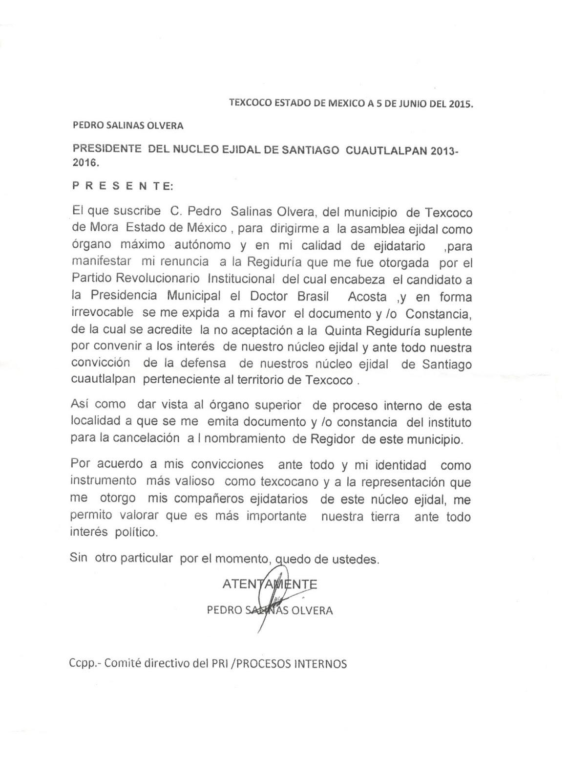 Comisariado Ejidal de Cuautlalpan niega apoyo a Brasil Acosta Peña ...