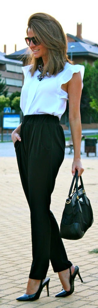 White Sleeveless Top with High Waist Pant | Chic Street Outfits
