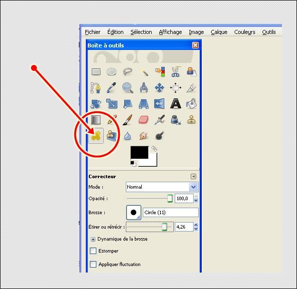outui correcteur d'irrégularité d'image (bouton sur visage)