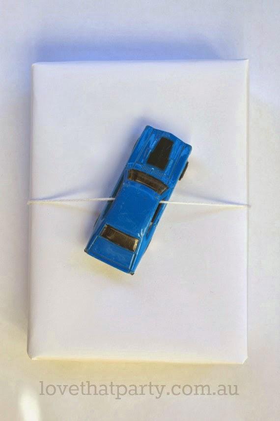 Toy Car Christmas Gift Wrap Ideas - www.lovethatparty.com.au