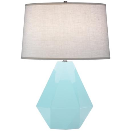 Robert Abbey Delta Baby Blue Table Lamp Aqua Linen Shade