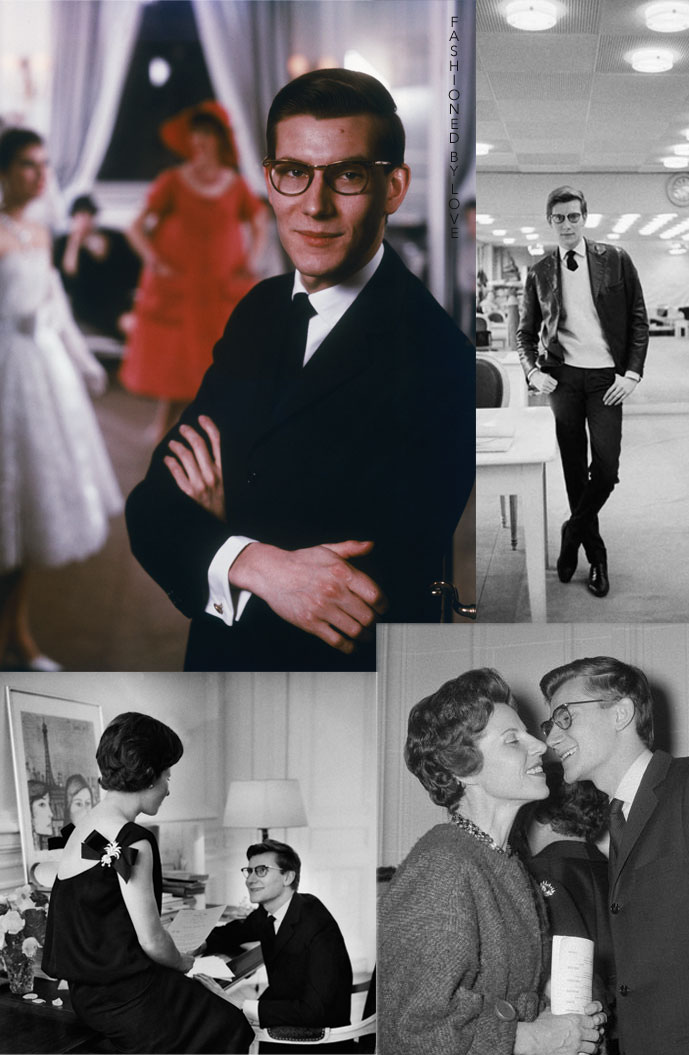 Yves Saint Laurent at the Christian Dior studio photographed by Mark Shaw and with his mother Lucienne Mathieu-Saint Laurent in 1957