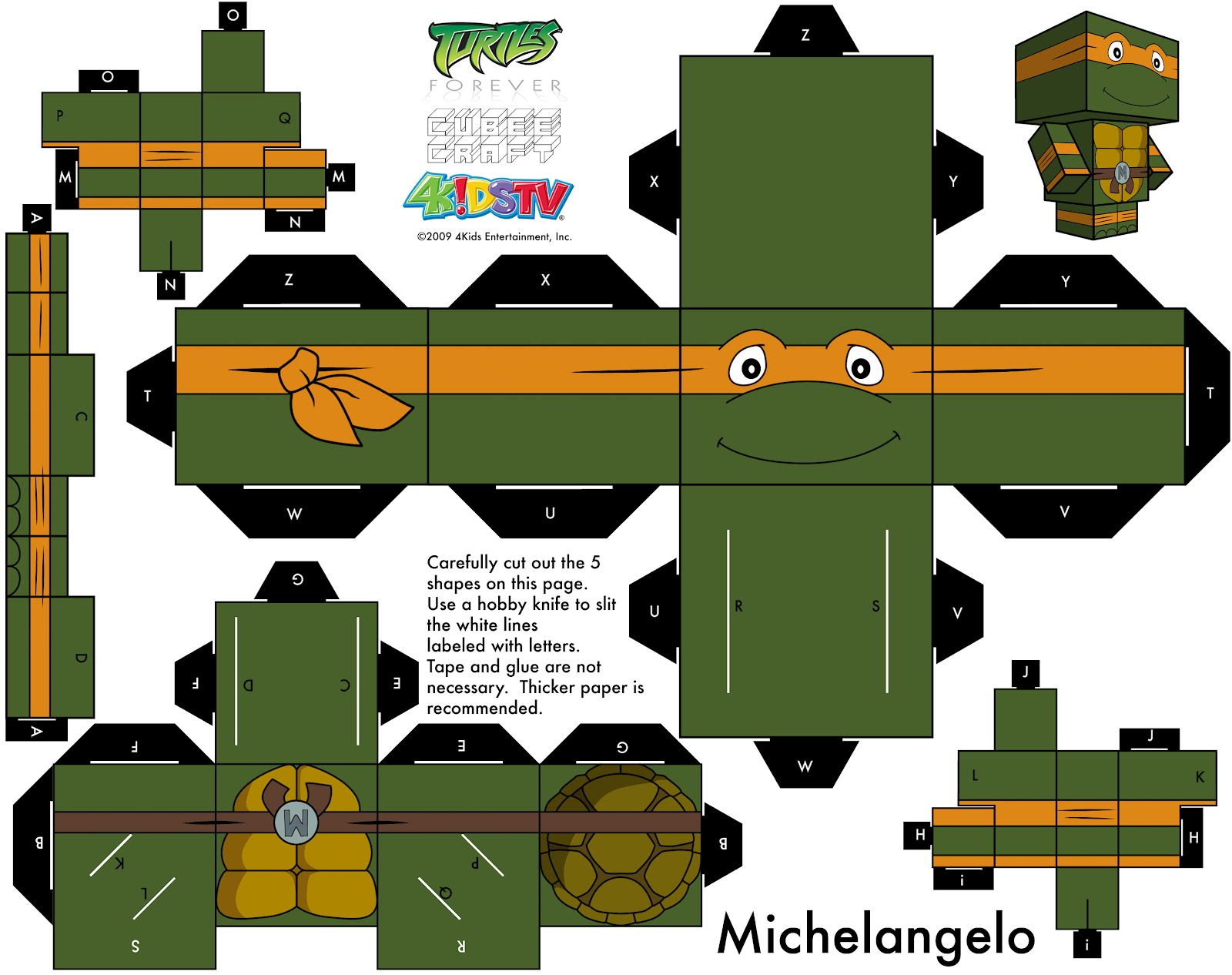 Ninja Turtles Michael Angelo Papercraft