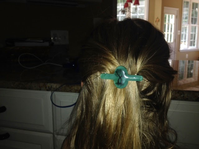 finished Tree of life hair clip, picture from customer in USA