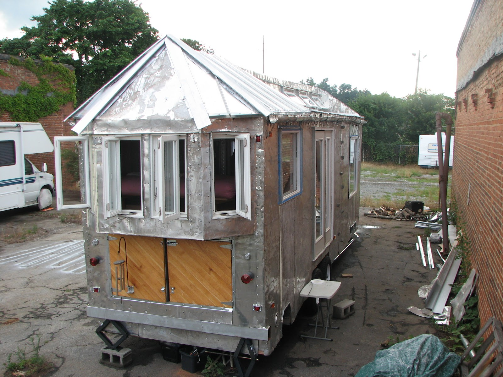 15 Pictures Homes Built On Trailers additionally Craigs List No No moreover Trimming Out Basement also Shipping Container Homes Off Grid Architecture For A Change South Africa also Trimmed Out. on building a home made solar powered travel trailer from the