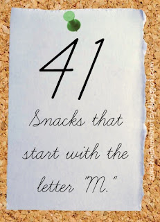 food starts with m, preschool snacks, preschool M snacks, bulletin board graphic
