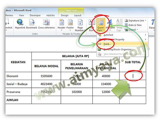 Gambar: Menambahkan field rumus pada tabel Microsoft Word