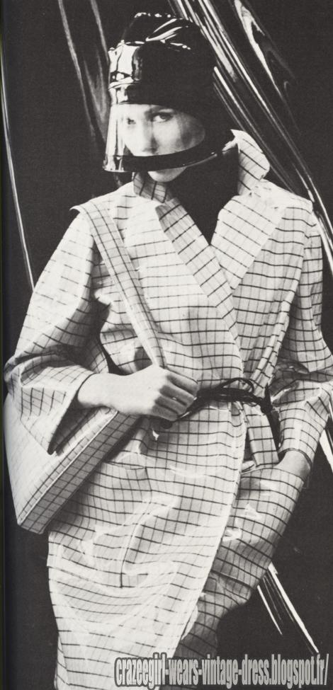 Raincoat - 1966 check vinyl pvc rain coat 60s 1960
