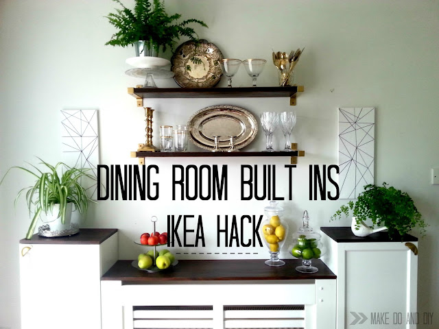 Ikea hack, dining room buit-in storage from billy bookcases and ekby shelve