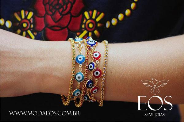 semi joias Moda EOS - pulseiras olho grego