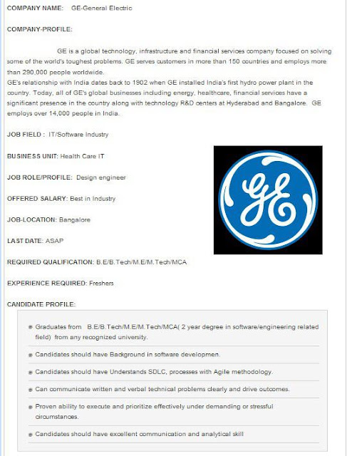 GE Fresher Opening in Bangalore
