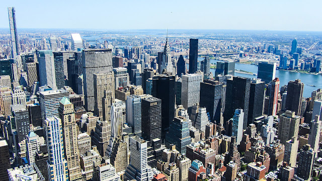 Arial photograph of New York City skyscrapers