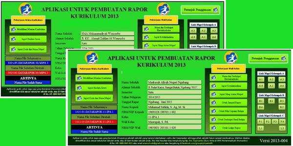 APLIKASI RAPORT EXCEL SMA DAN MADRASAH ALIYAH KURIKULUM 2013