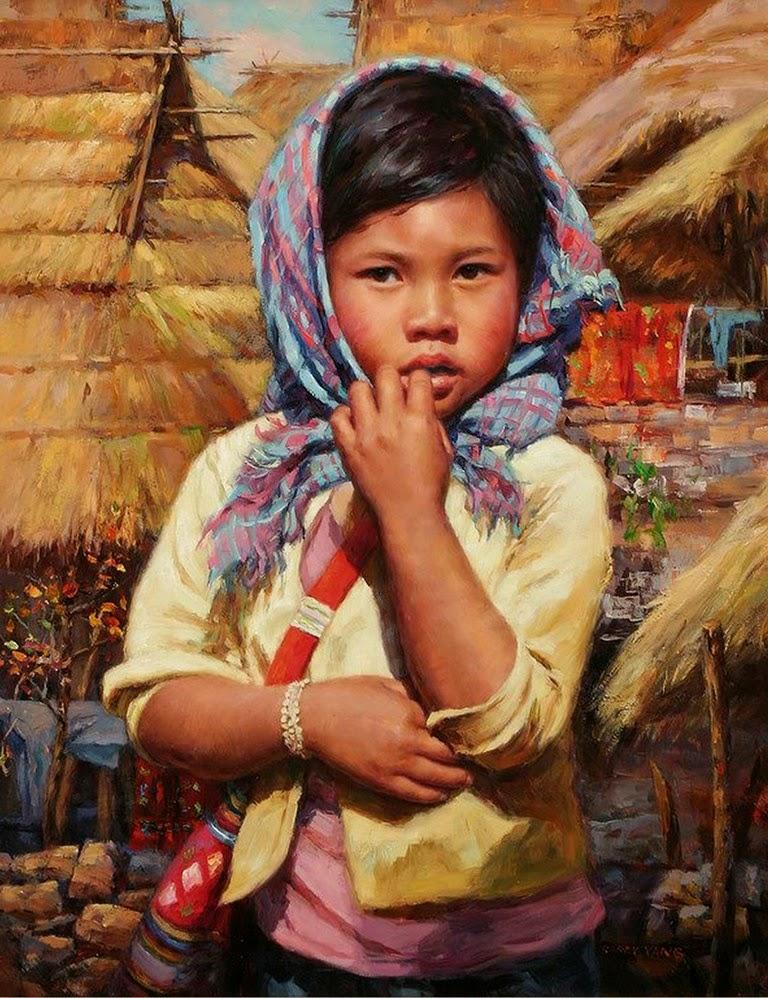 Pintura moderna y fotograf a art stica retratos pintados for Cuadros infantiles al oleo