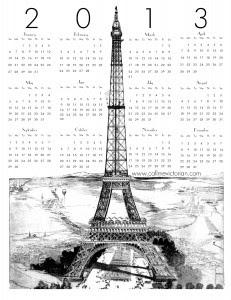 Calendário 2013 Paris - para imprimir