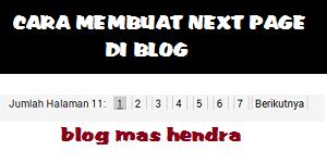 cara, memasang, next, page, di, blog, mas, hendra
