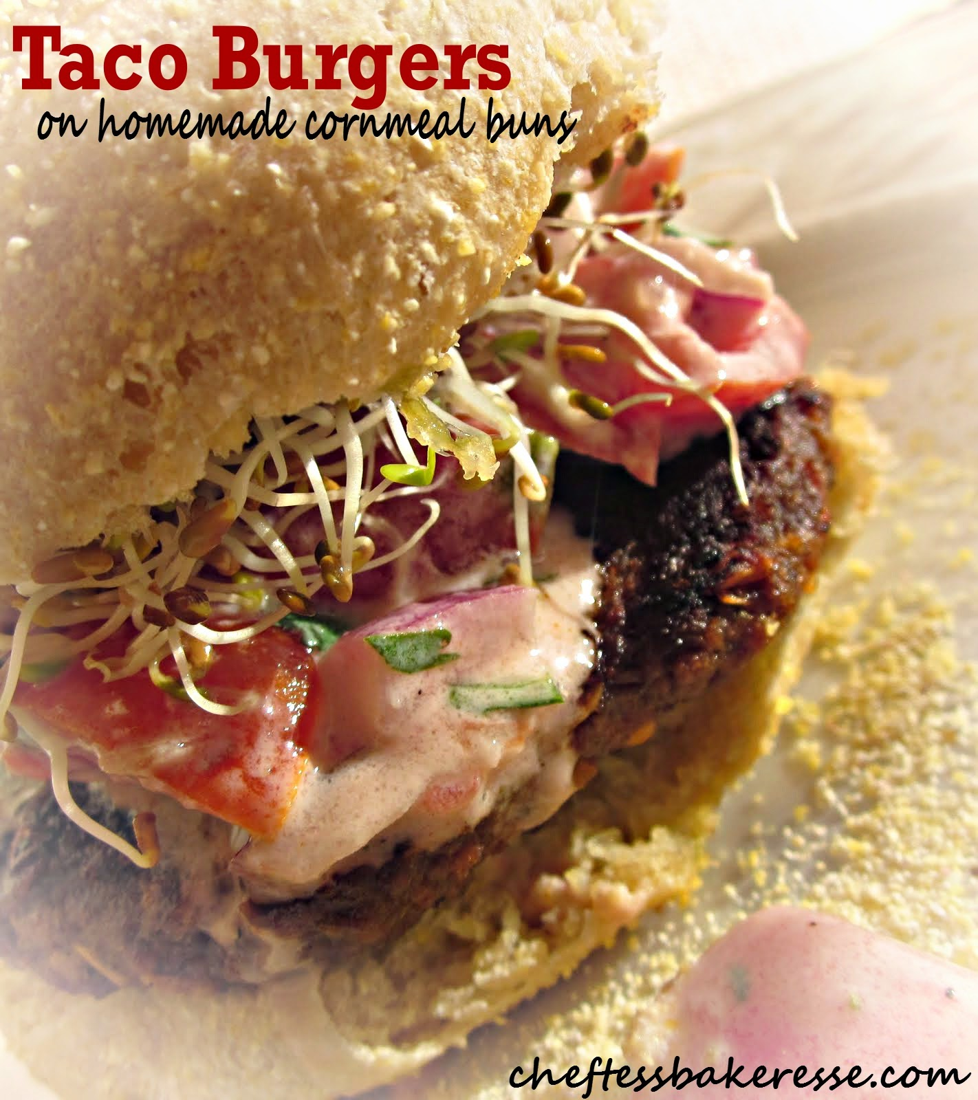Taco Burgers on Fluffy Cornmeal green chile buns