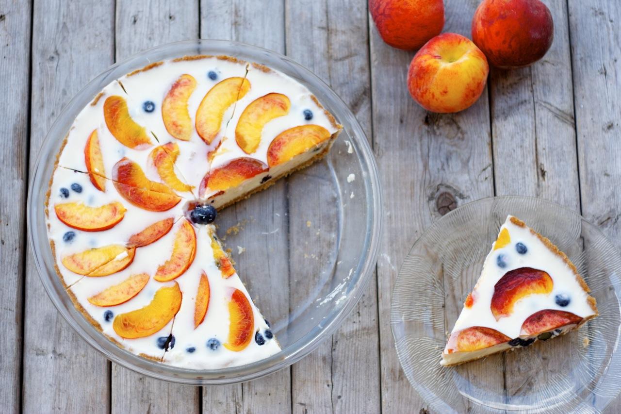 Blueberry-Peach Yogurt Pie with Whole-Wheat Crust - Craving Greens