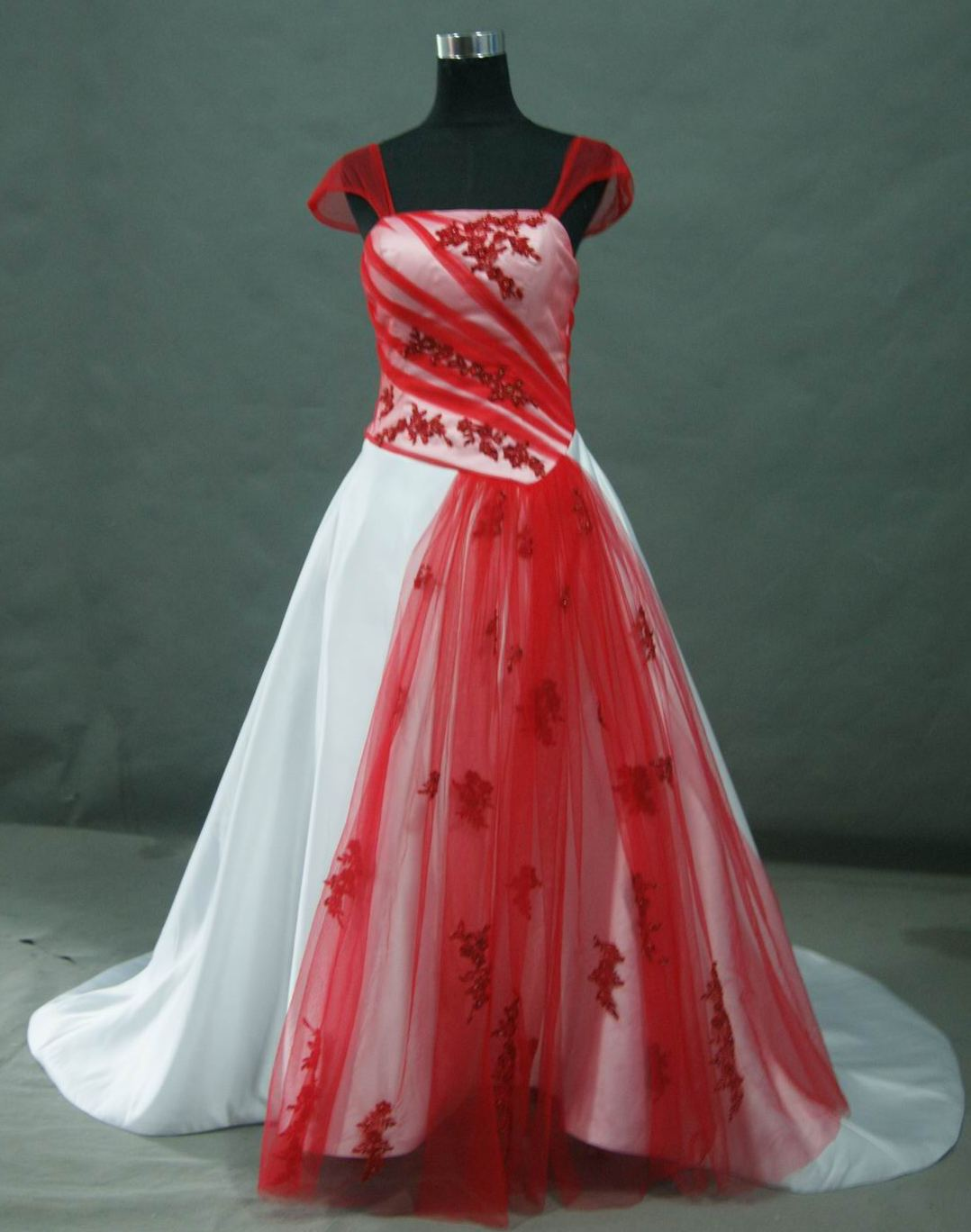 file image: red and white wedding gown