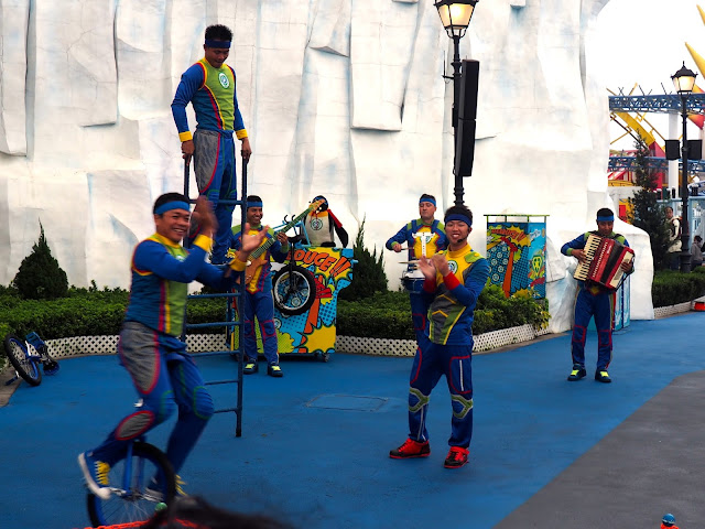 Penguin acrobat and music performers in Polar Adventure area, Ocean Park, Hong Kong