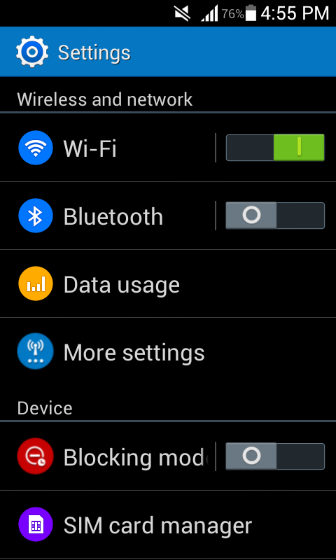 Settings kitkat rom
