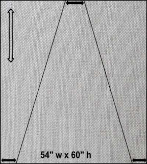 rectangular fabric cut into 3 trapezoids
