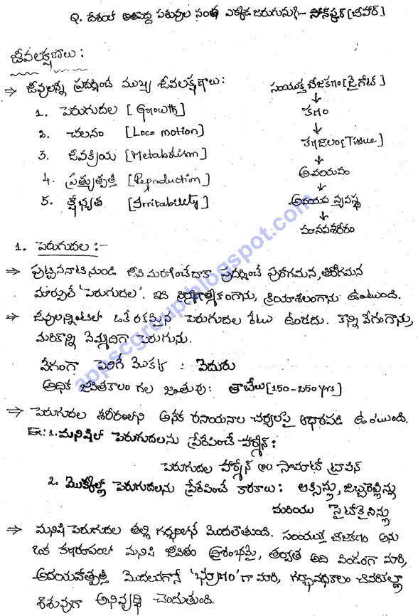 120 pages biology class notes in telugu medium for civil part 12 ccuart Gallery