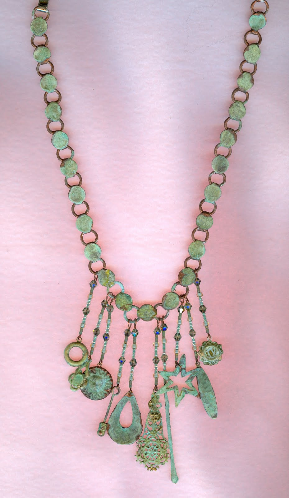 Copper patina waterfall necklace