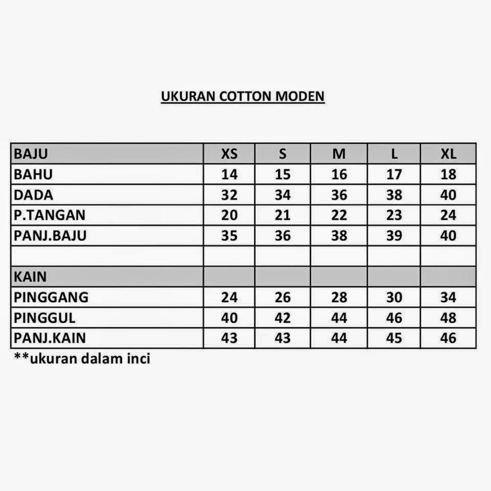 Milla Baju Kurung Cotton Moden Ukuran