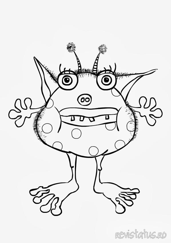Line Drawing Monster : Kindergarten worksheet guide helping pictures
