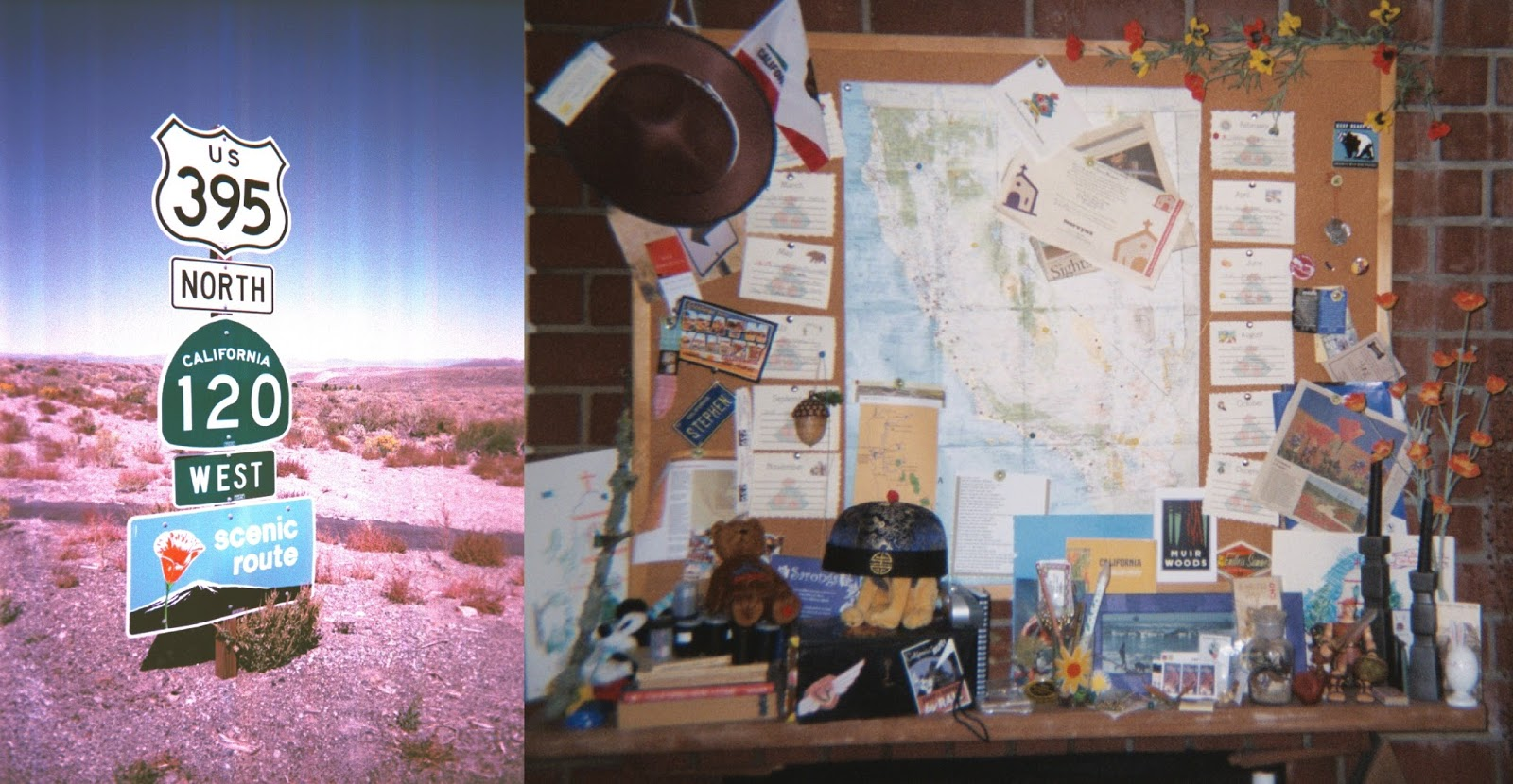 we hung a large map with pins strings note cards and the like over the fireplace this was about partway through the year with accumulated souvenirs