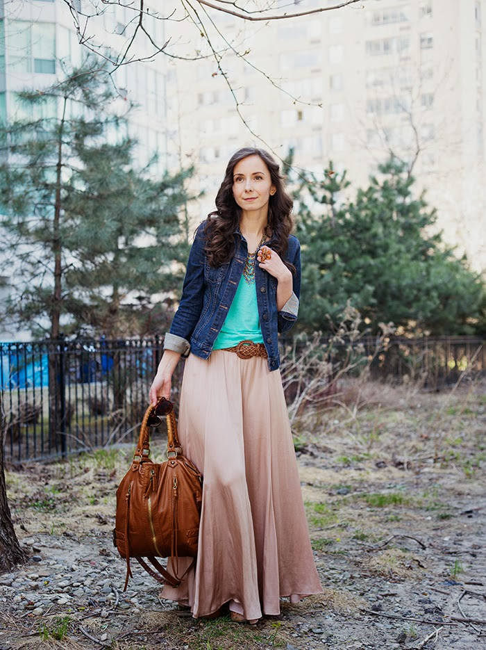 Silk-Maxi-Skirt-Jean-Jacket-Mint-Coral-mommy-fashion-blogger