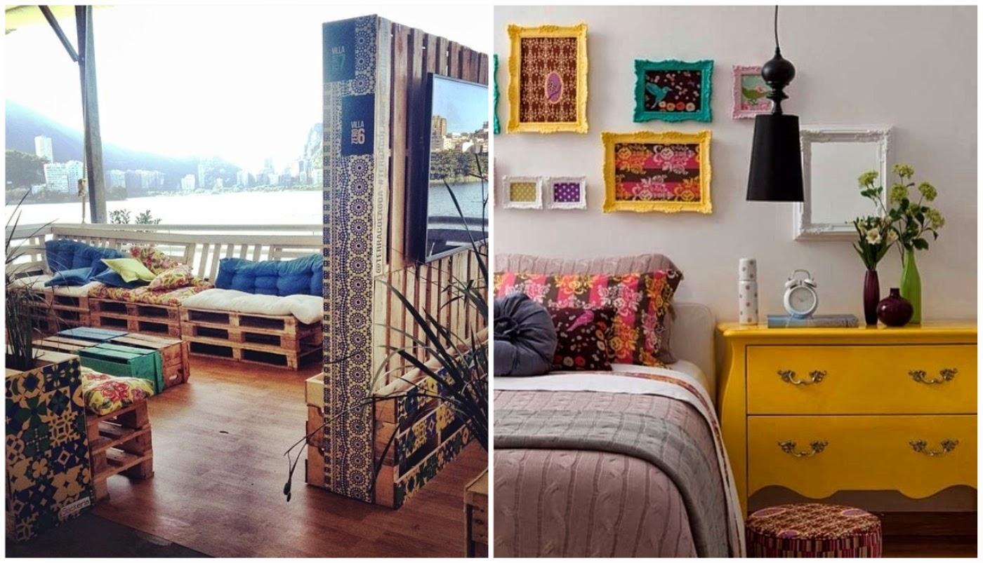 ambiente com paletes pintados nas cores do Brasil @stickeria e cômoda de cor amarela @assimeugosto