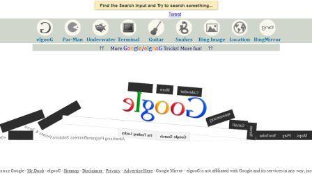Menggunakan Google gravity, elgoog, tampilan Google yang unik dan aneh
