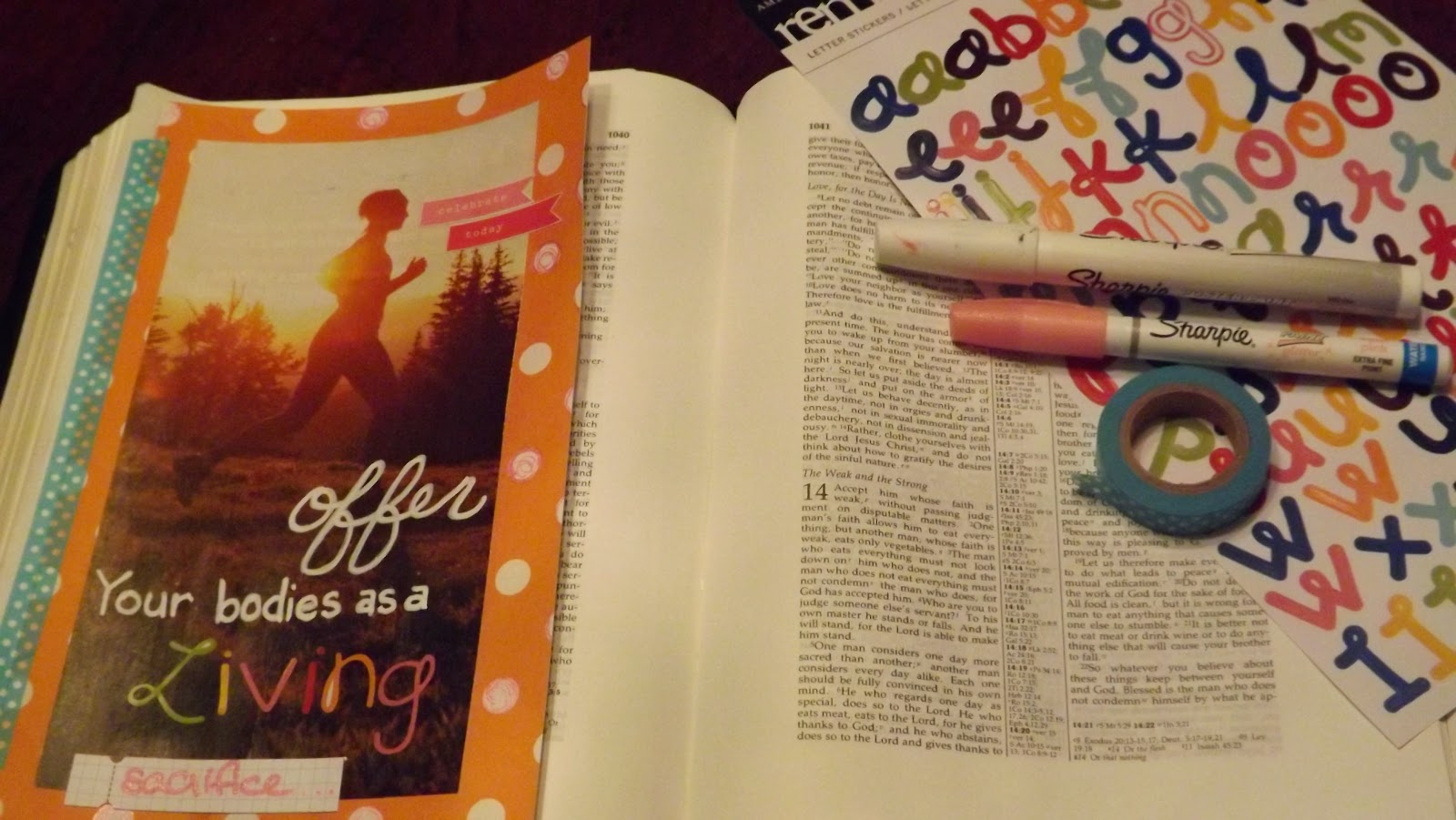 Journaling Bible page inspired by a challenge on Romans 12:1-2 with stickers and a magazine page.