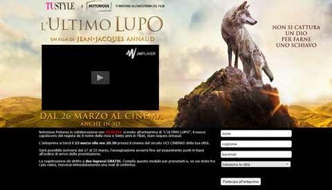 biglietti gratis film l'ultimo lupo