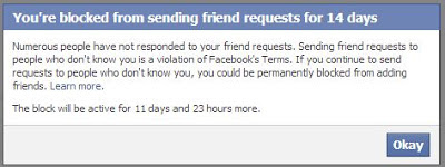 Blocked sending friend request