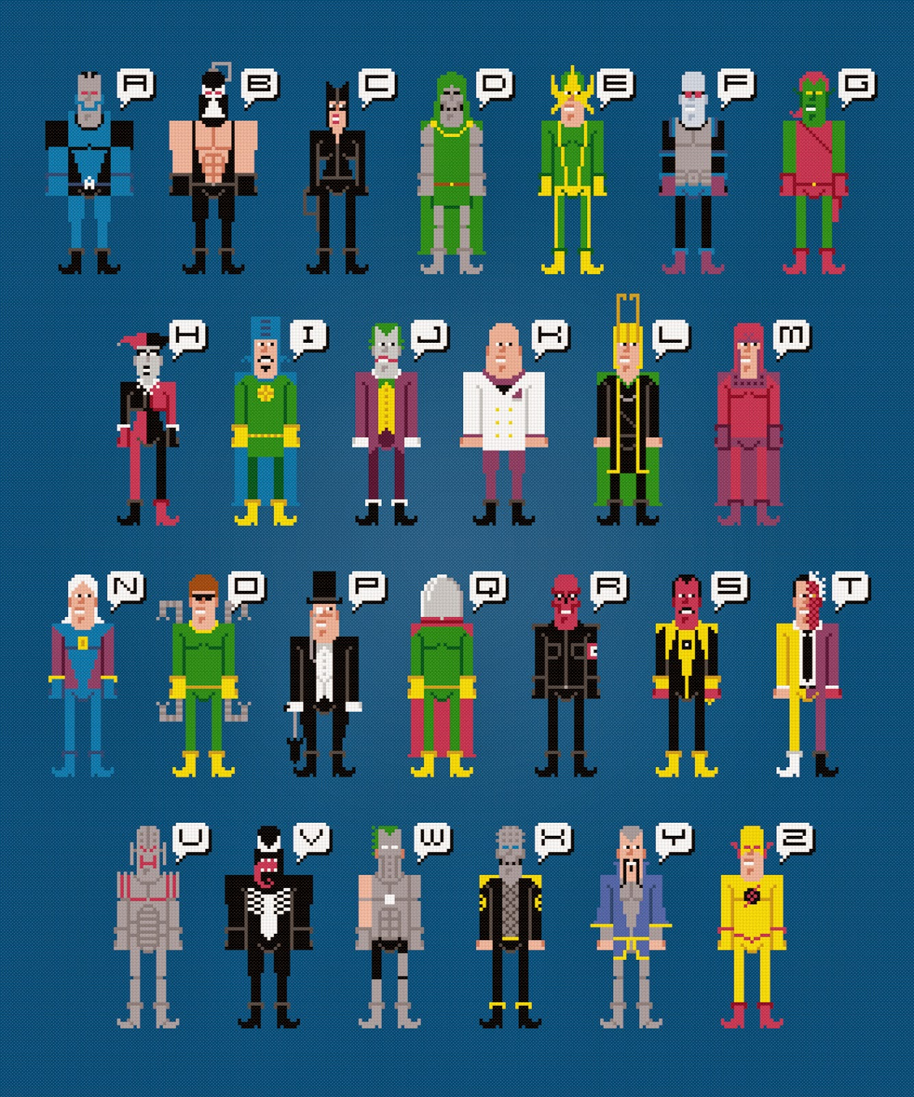 Supervillain Aphabet - Cross Stitch PDF Pattern Download